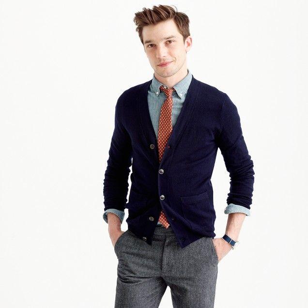 J.Crew Mens Slim Merino Wool Cardigan Sweater (Size XL)