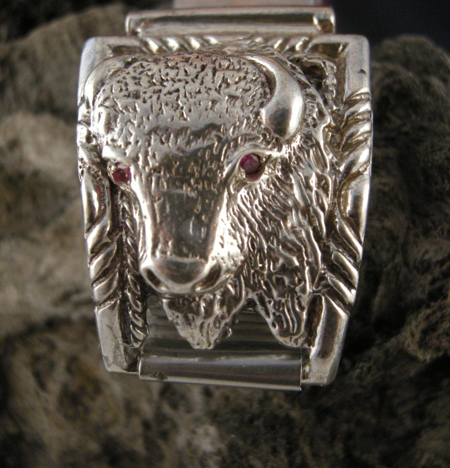 WATCH BAND TIPS, American Bison Watch Band TipsCast in Sterling Silver depicting Head of the American Buffalo Each eye Set With a 2mm Ruby by bopartpottery on Etsy