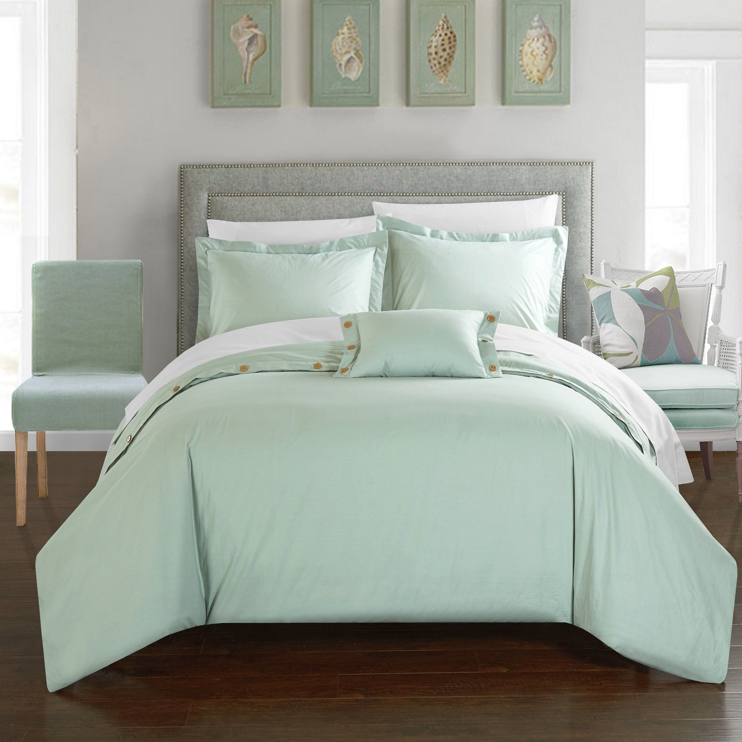 Chic home astrid green cotton duvet cover piece set overstock