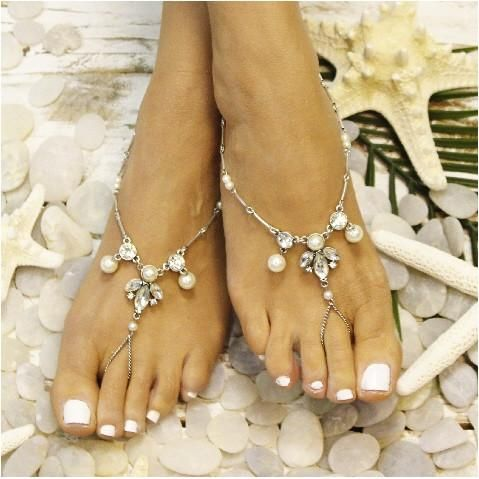 b5789297236f1 PEARL barefoot sandals - silver OOAK - Catherine Cole Studio - 1 ...