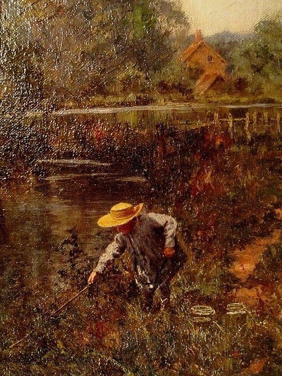 E.W. Waite (1854- 1924) Frog Picker, English
