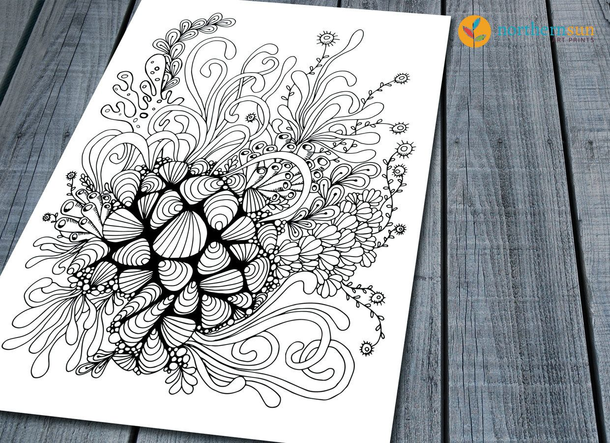 Doodle Adult Colouring Page, Abstract Seaside Printable Colouring ...