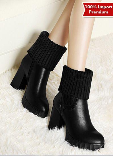 Sepatu Wanita High Heel Boots Import Premium 589pr