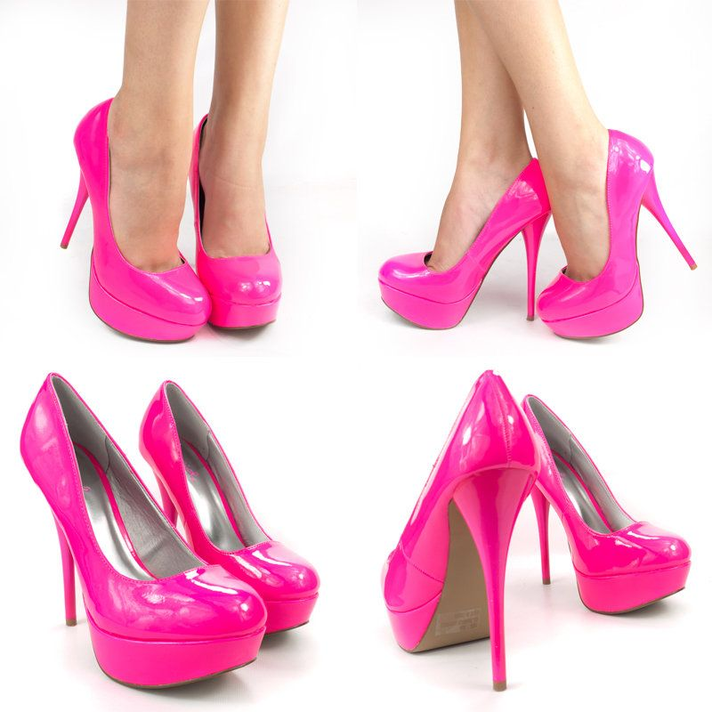 a1b1c0a4a9ff NEON HOT PINK ROUND TOE PATENT LEATHER HIGH HEEL PLATFORM STILETTO PUMPS  SANDALS