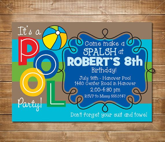 pool birthday party invitation boys swimming party water party