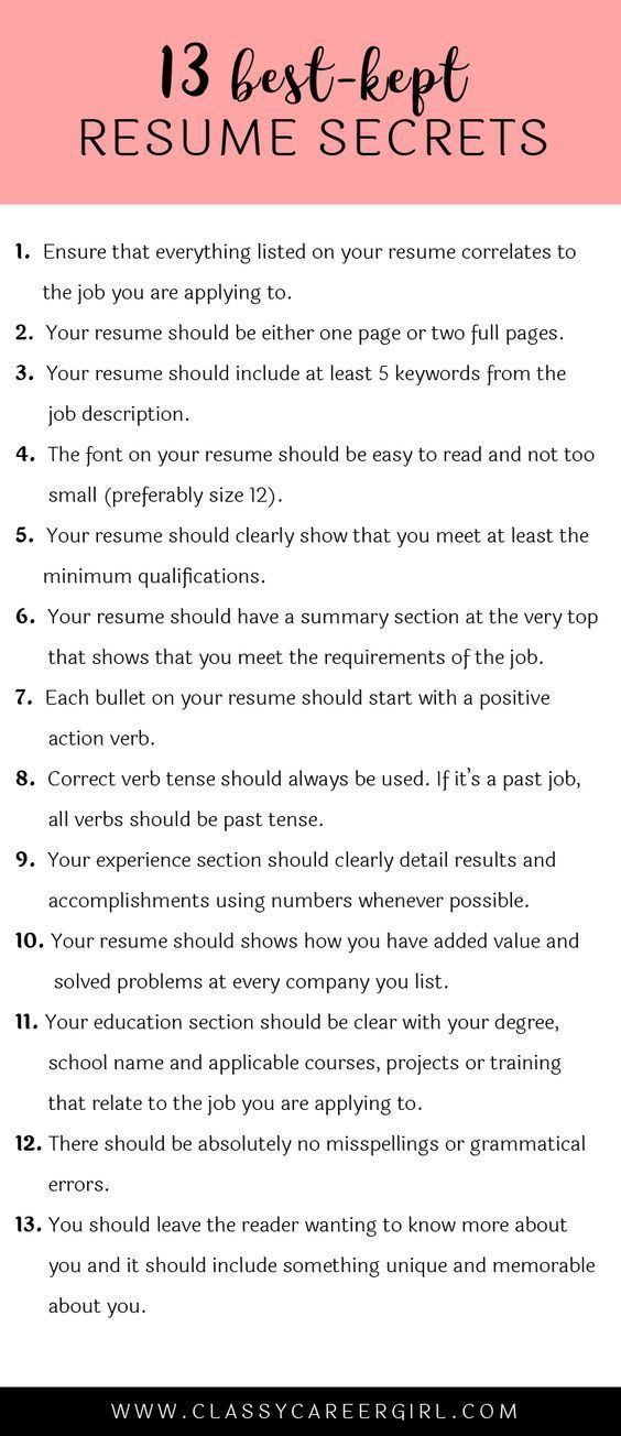 The 13 Best-Kept Resume Secrets Life hacks, Adulting and Business - resume 5 pages