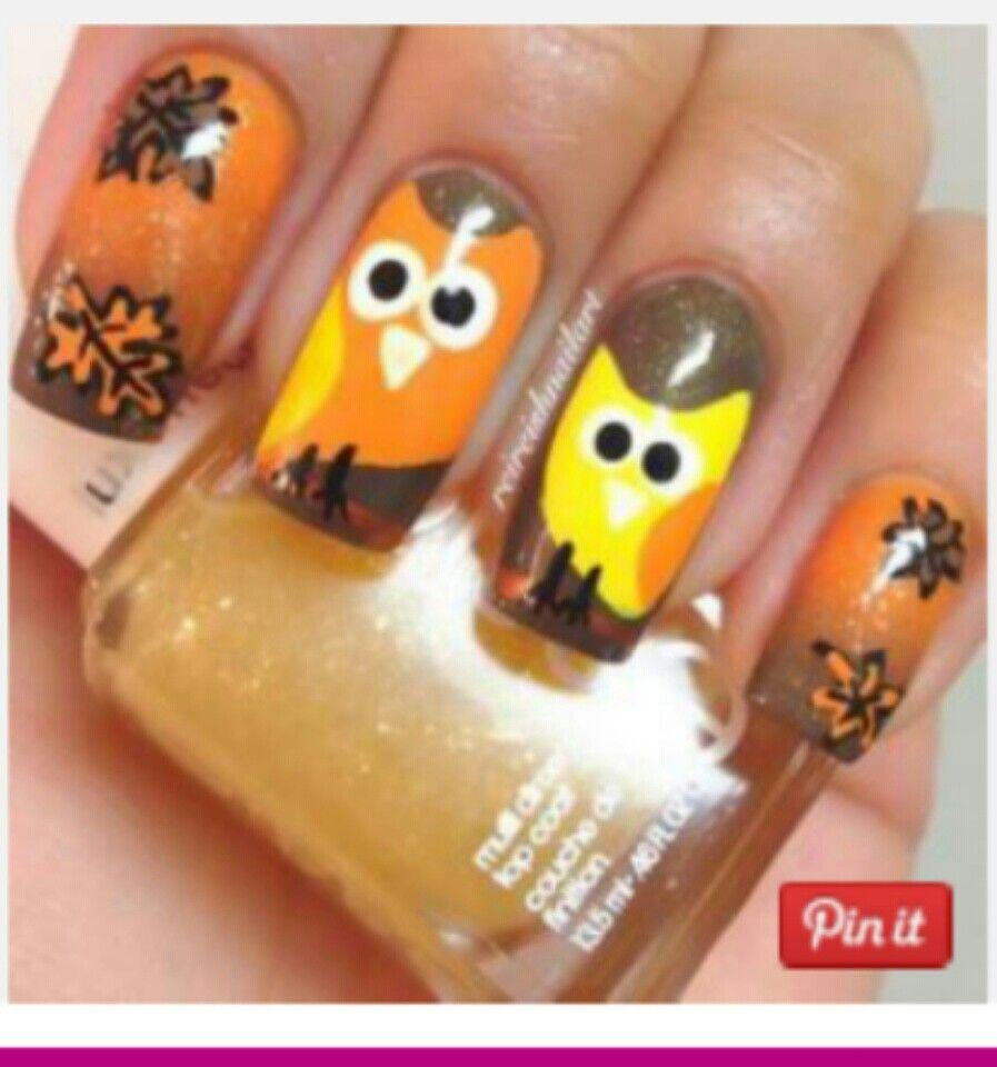 Fall owl nails nails pinterest owl nails