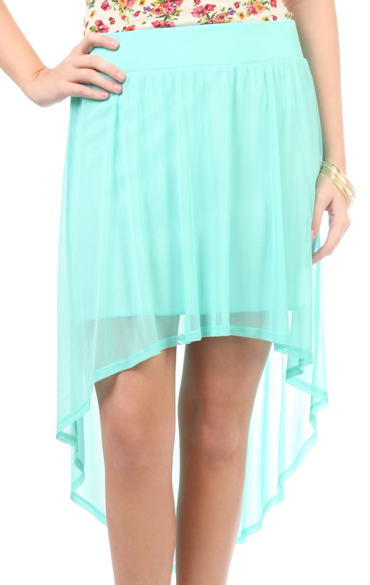 Sheer high low skirtmint green debs prom dresses short u long