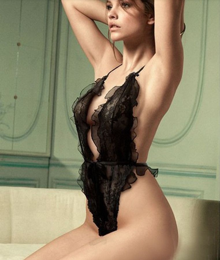 ab861fae51 Alluring Halter See-Through Black Teddy For Women