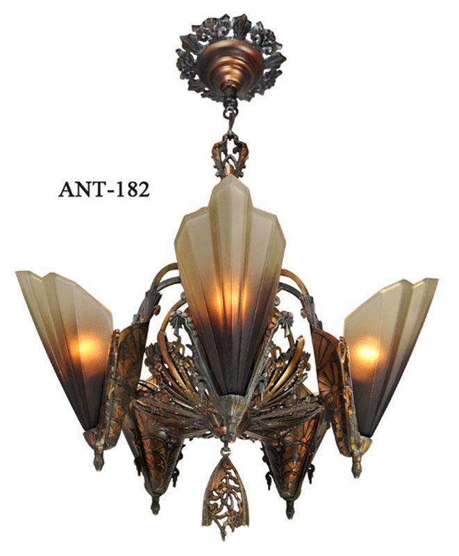 Art Deco Light Parts Antique Art Deco Slip Shade Soleure 5 Light Chandelier Art Deco Lighting Art Deco Lamps Antique Lighting