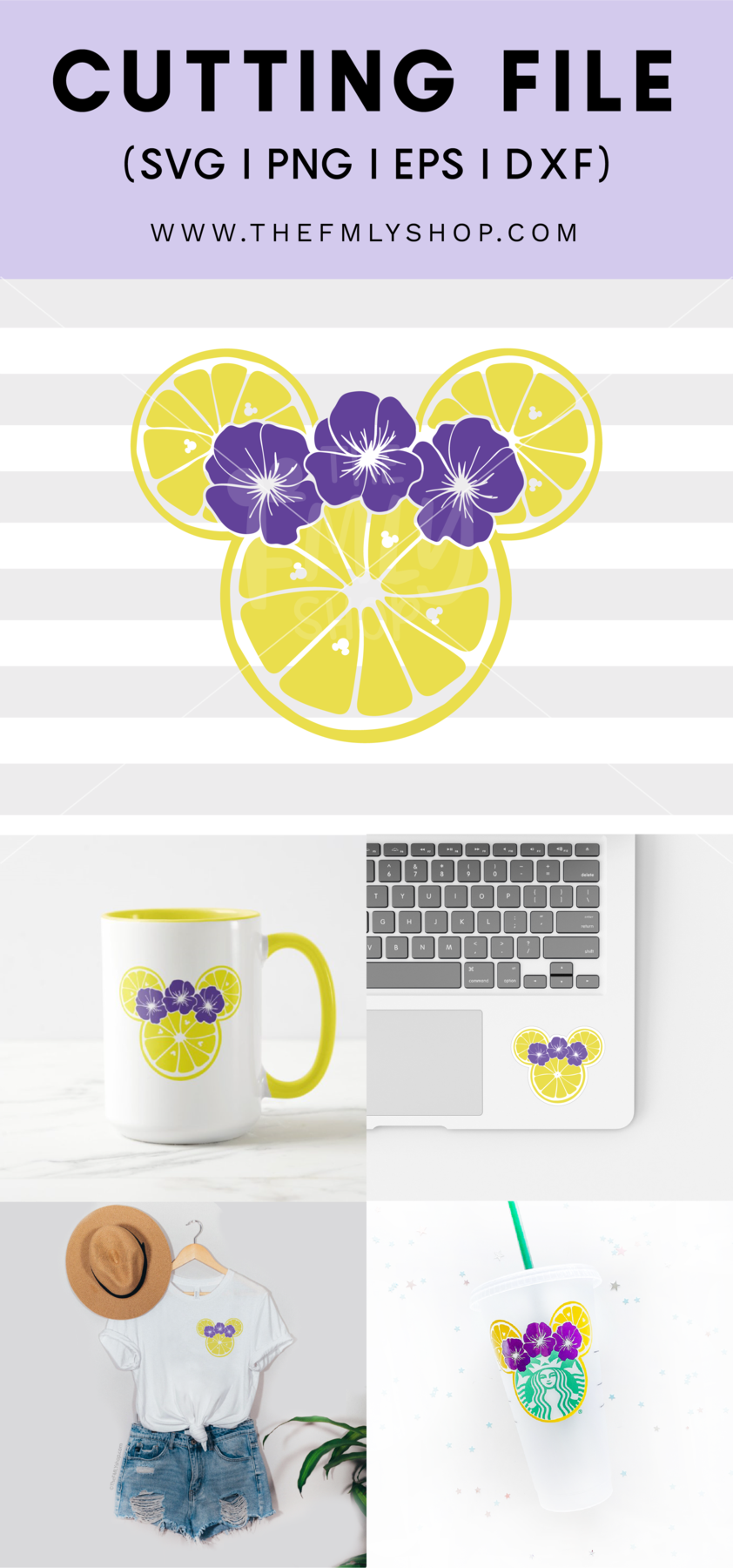 Violet Lemonade SVG, Minnie Lemons SVG, Epcot Flower and