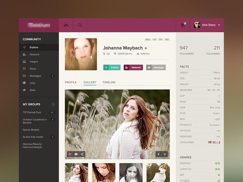 Model Profile Model Profiles Profile Web App Design