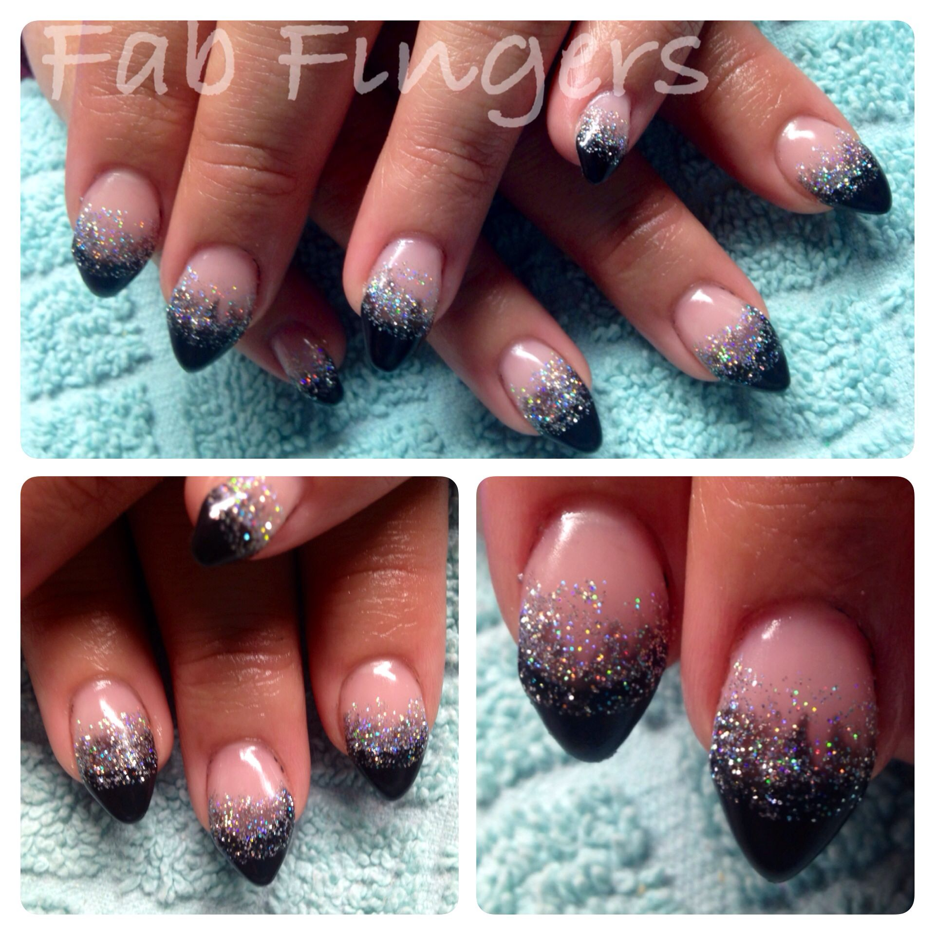 Black glitter fade almond gel nails new years nails | Nail ideas ...