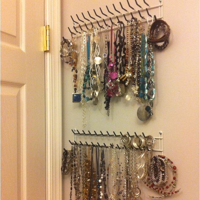 Jewelry Organizer, Made Out Of Tie Hooks From Lowes. Put