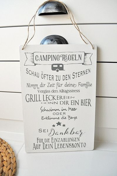Photo of Decorative Objects – Deco Sign Camping Rules – a unique product by Tres-Blanc at …