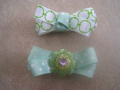 Cute homemade St. Paddy's Day hair clips for little girls