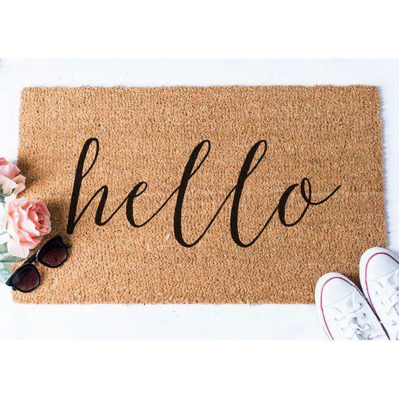 Hello Doormat Welcome Door Mat Hello Doormat Newlywed Gift Etsy Hello Doormat Welcome Door Mats Door Mat