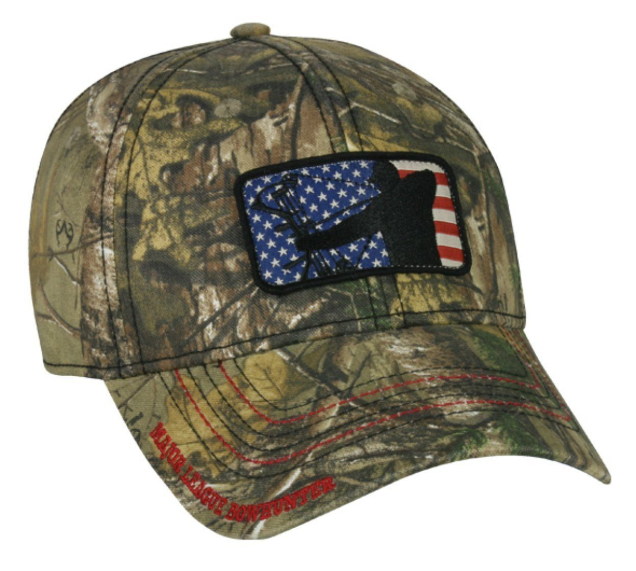 b9795d0389e9f Realtree Major League Bow Hunter Patriotic Flag patch Hunting Hat ...