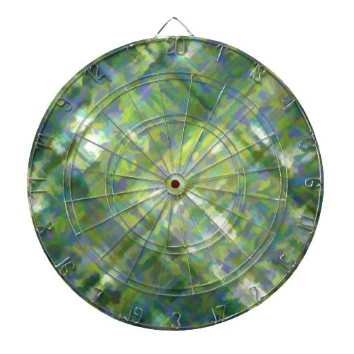 Abstract Green Dartboard With Darts