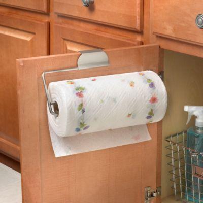 Flower Over The Cabinet Door Paper Towel Holder In Brushed Nickel