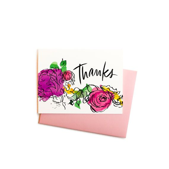 Watercolor Flowers Thank You Cards With Handwritten Typography Boxed Set Of Notes