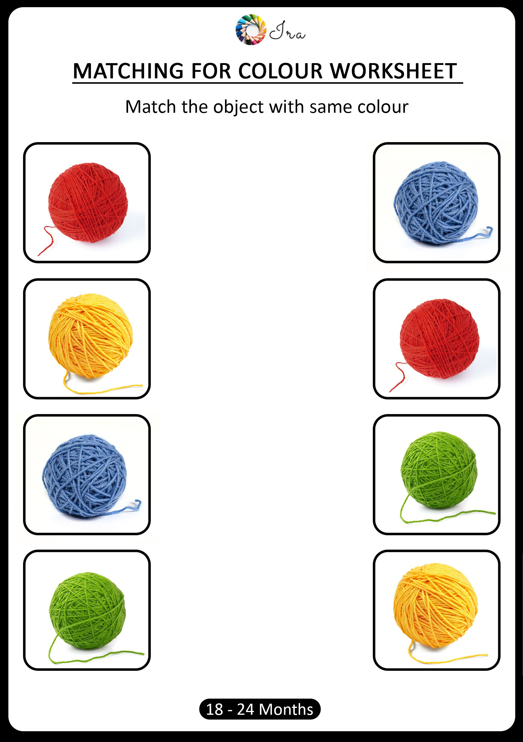 Free Downloadable Matching Colors Worksheets 18 24 Months