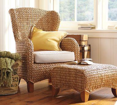 Seagrass Wingback Armchair & Ottoman, Havana Dark | Armchairs ...