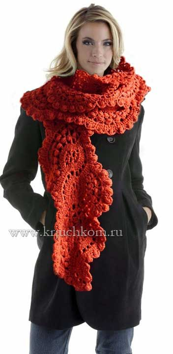 Knitted scarf crochet