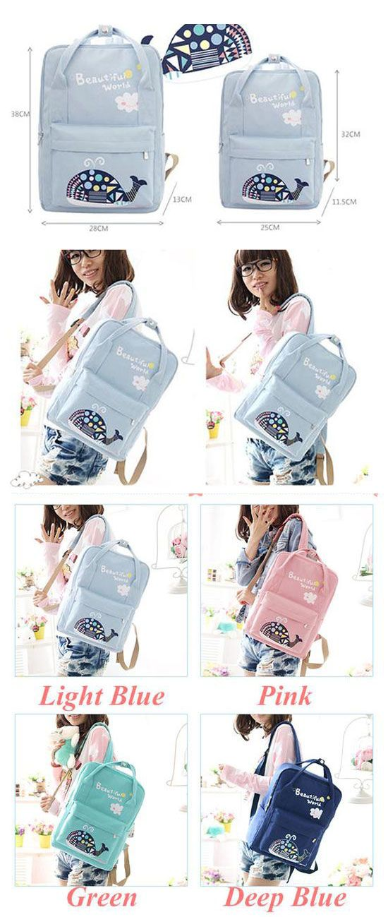 6405de2aecbd Cute Whale Flower Printing School Bag Backpack Beautiful World Cartoon