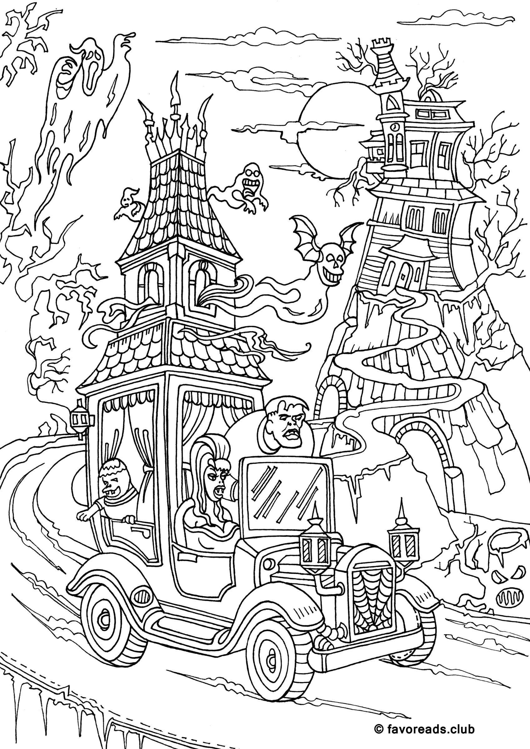 Free Printable Coloring Pages for Adults Monster mash