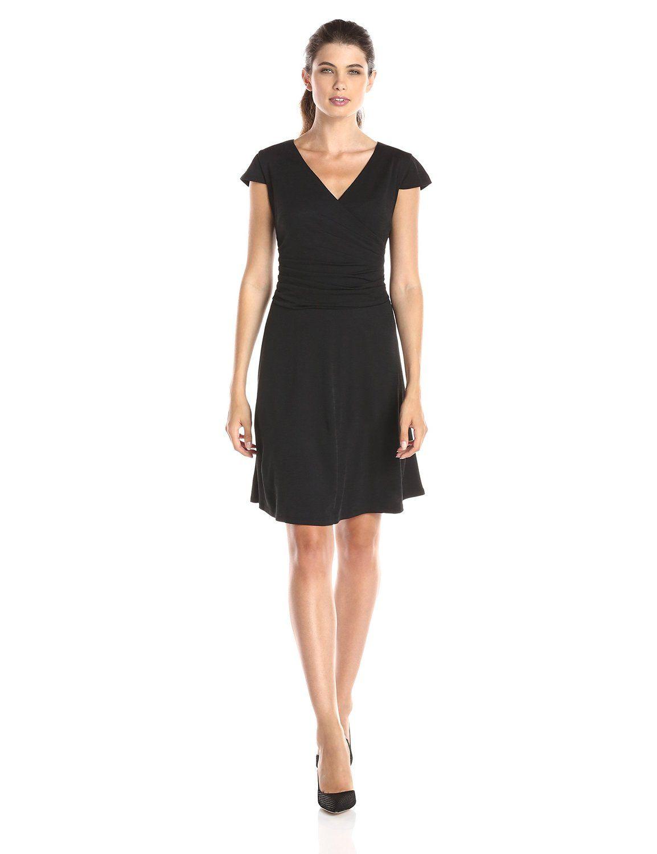 aedd27feaa7 Nine West Women s Cap Sleeve Surplice Flare Skirt Dress