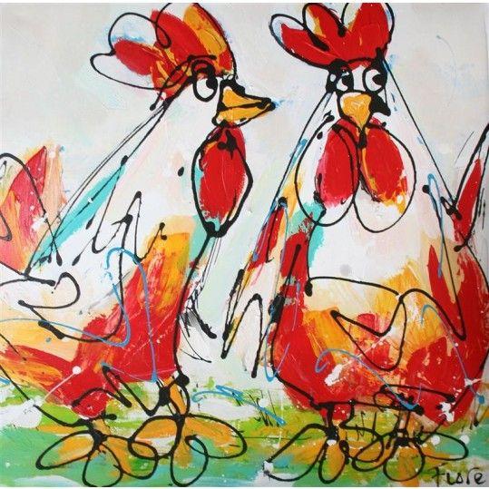 Schilderij twee kippen rood wit