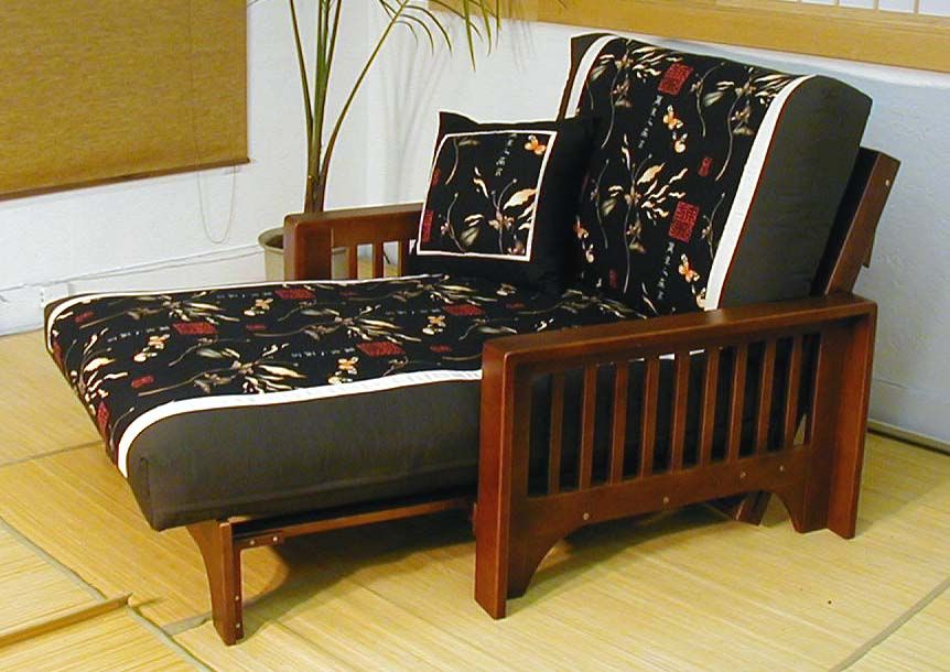 Simple Twin Futon Chair And With Wooden Floor Frame