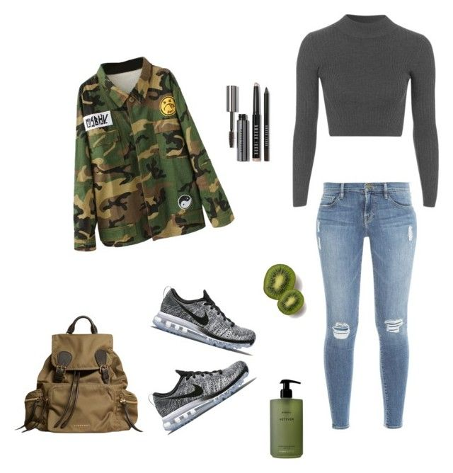 """""""Green"""" by flavieflamant ❤ liked on Polyvore featuring Frame Denim, NIKE, Topshop, Burberry, Bobbi Brown Cosmetics and Byredo"""