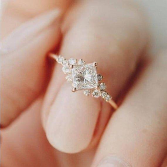 14K gold 925silver white topaz zircon gemstone women wedding statement proposal engagement anniversary ring jewelry An elegant ring for Love