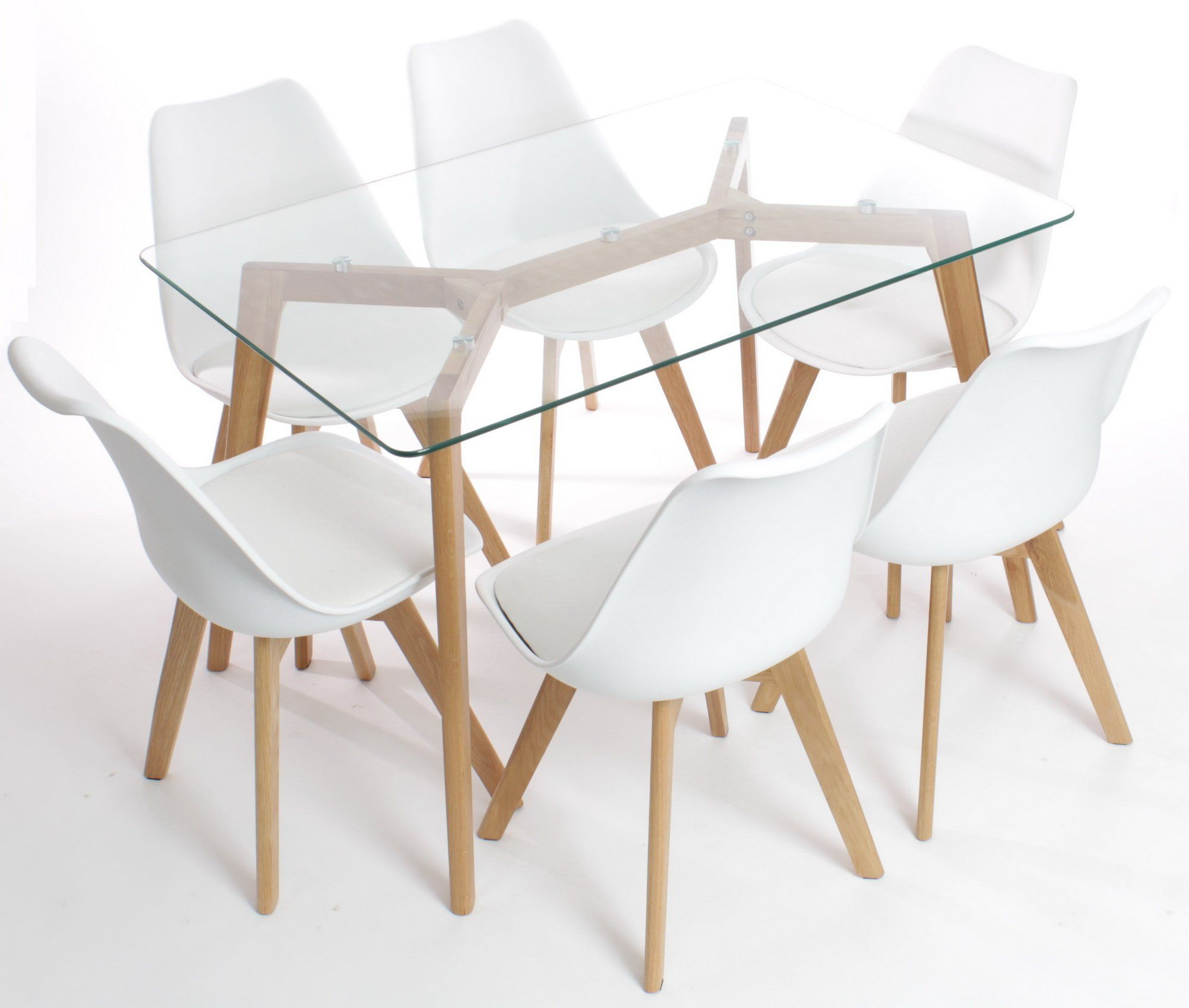 glass dining table with oak legs. oak legs and clear glass. charles jacobs dining table with six white chairs set solid wood glass e