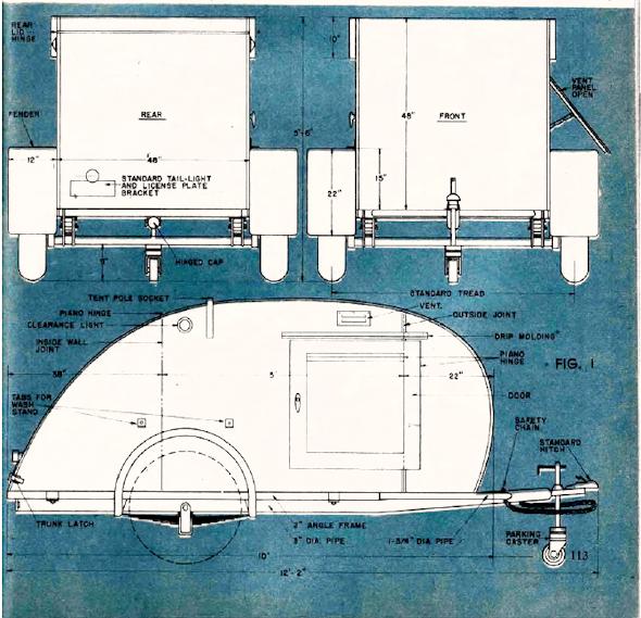 Teardrop drawing from September 1947 \