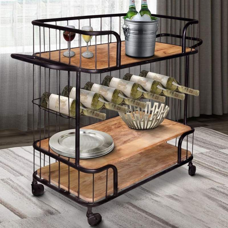 Metal Frame Bar Cart With Wooden Top And 2 Shelves Black And Brown By The Urban Port In 2020 Wooden Tops Home And Living Furniture Inspiration
