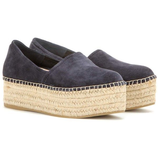Miu Miu Suede Platform Espadrilles ($435) ❤ liked on Polyvore featuring shoes, sandals, blue, suede platform shoes, platform shoes, suede platform sandals, blue sandals and blue suede shoes