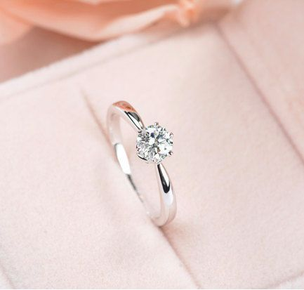 Photo of Six Prong Pave Moissanite and Diamond Engagement Ring , Bridal Ring,Diamond Alternative engagement ring