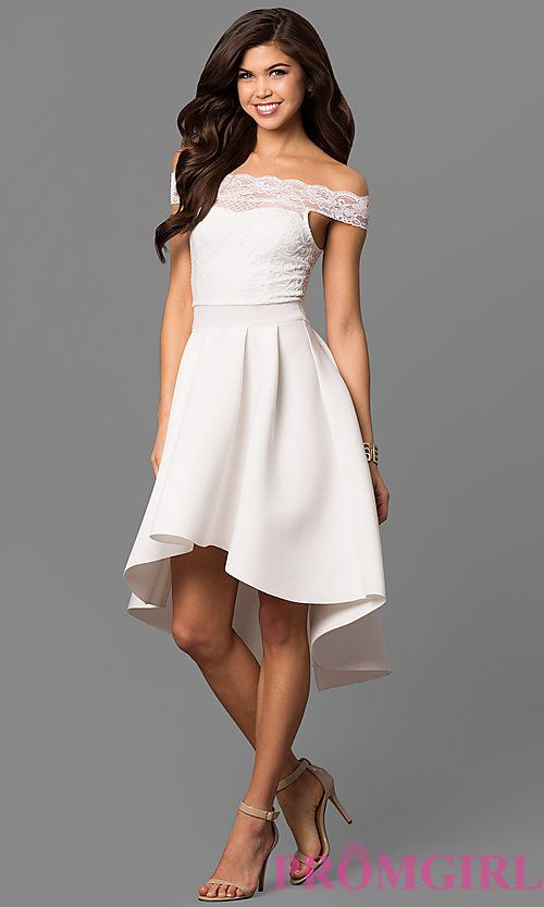 White High Low Off The Shoulder Party Dress High Low Party Dresses Mermaid Prom Dresses Lace White Dress Party