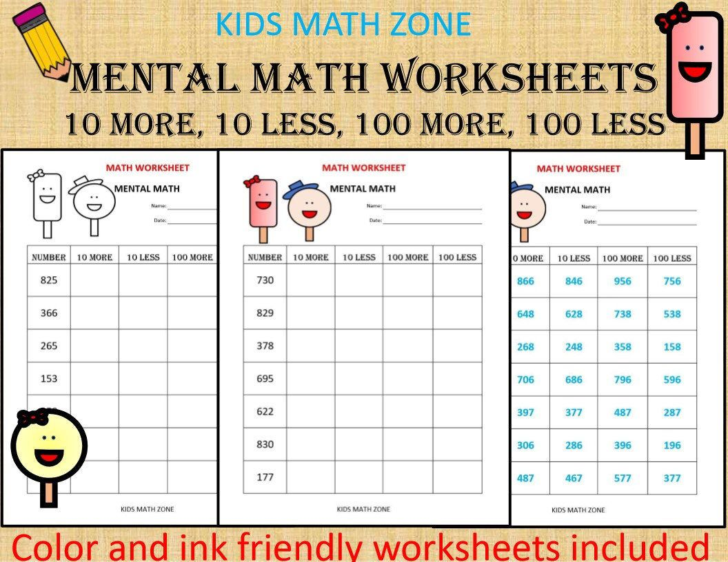 Mental Math (10 Math Worksheets) pdf/ Kindergarten Year 1