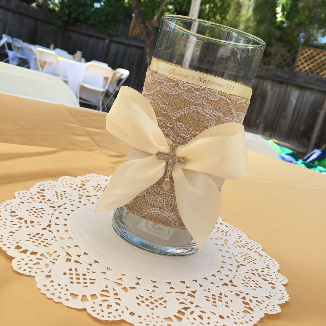 Cheap Baptism Center Piece Jar From Dollar Store Ribbon From