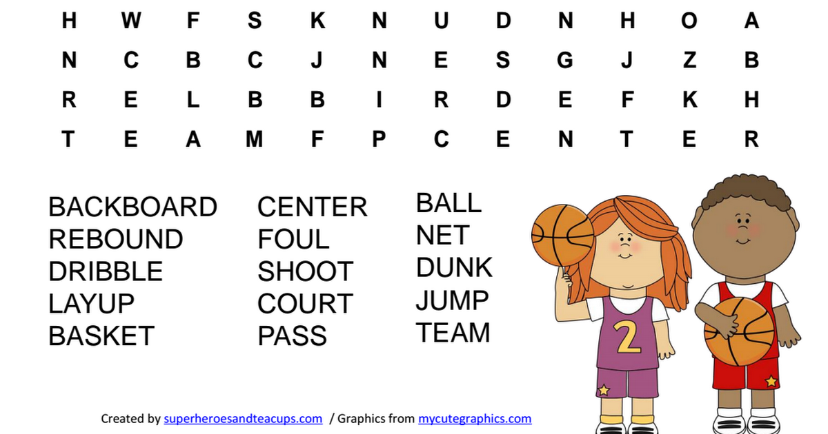 Basketball Word Search.pdf | Words, Word search, Kid toys