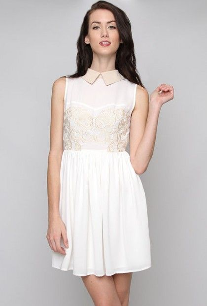 dd24e0019654d Pastel Whispers Two Toned Dress with Collar Tips in Sage Cream  46.99