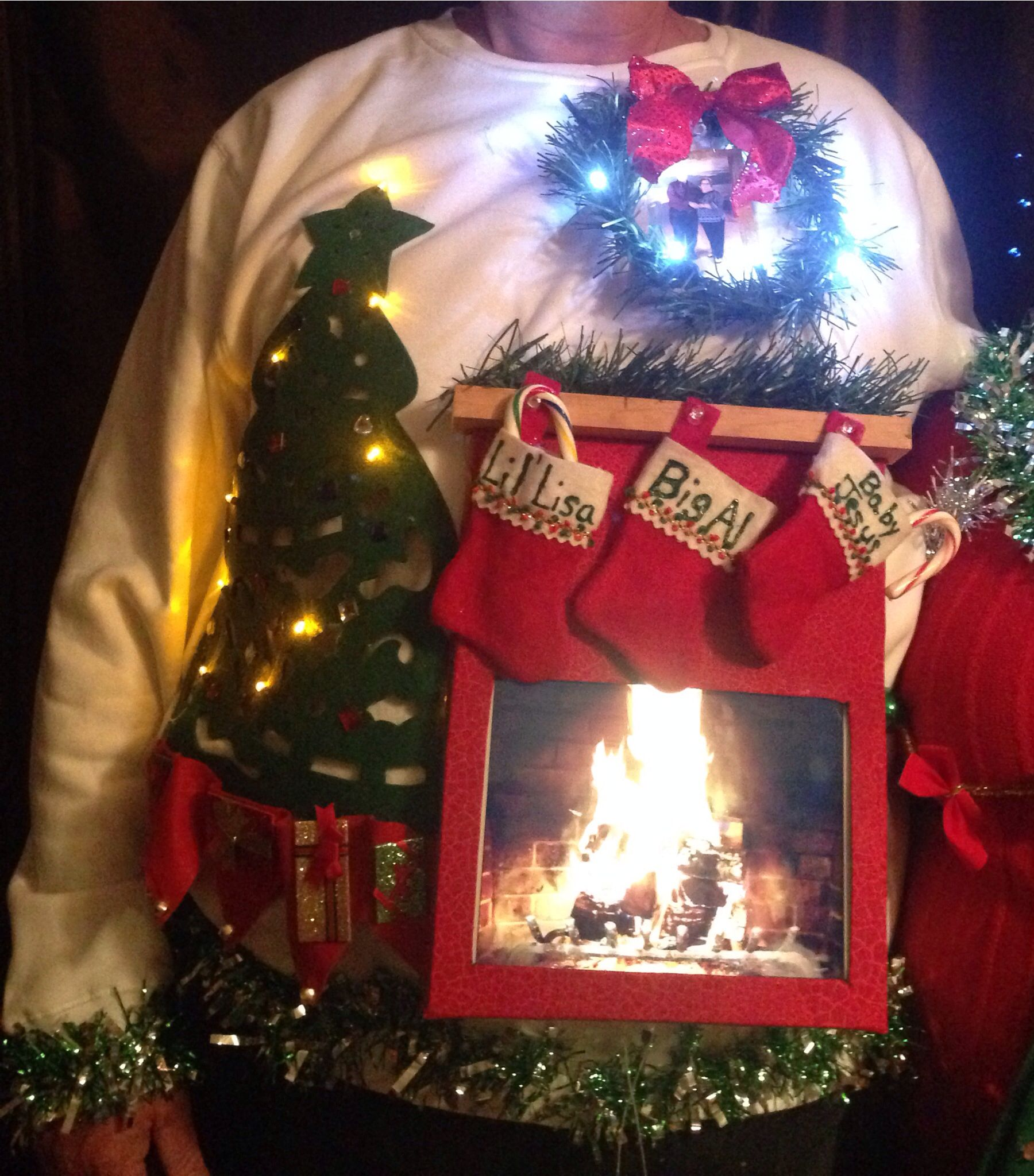 ugly sweater live fireplace using ipad app for fireplace
