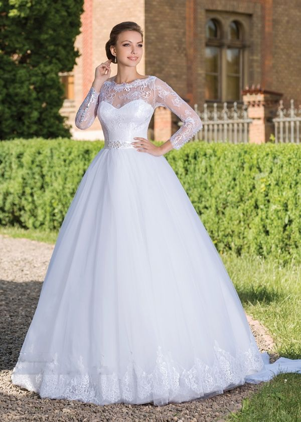 189 2016 long sleeves ball gown wedding dresses sheer for Long sleeve princess wedding dresses