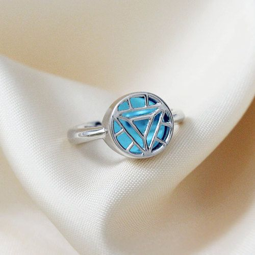Engagement Ring with Stark Arc Reactor Solid Sterling 925 Silver