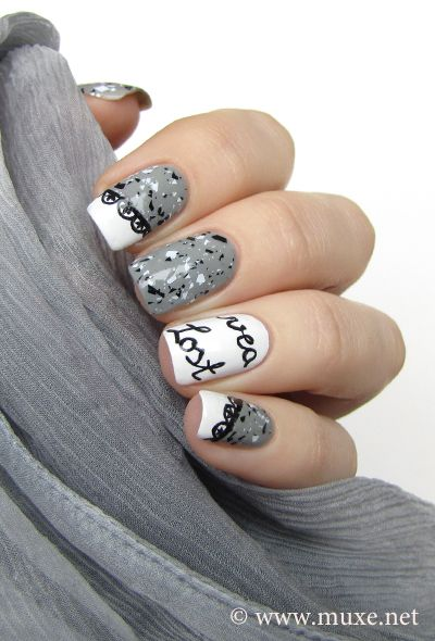 Nail Design With Letters And Lace From Maris Nail Polish Blog