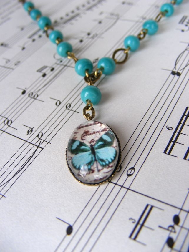 Turquoise butterfly necklace - Folksy | Craft Juice